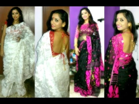 5ccc35ef055c0 Desi  Indian outfit of the   Styling dhakai jamdani saree. - YouTube