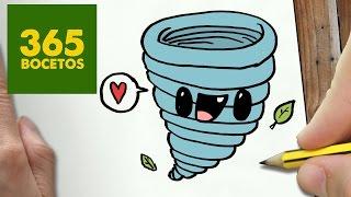 COMO DIBUJAR TORNADO KAWAII PASO A PASO - Dibujos kawaii faciles - How to draw a TWISTER