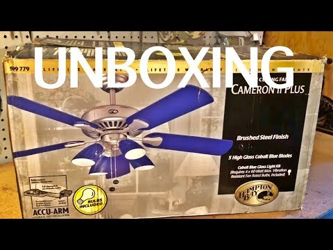 Unboxing Hampton Bay Quot Cameron Ii Plus Quot Ceiling Fan Youtube