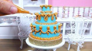 Miniature Blue and Gold Chocolate Wedding Cake - mini food ASMR