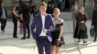 Ansel Elgort and Violetta Komyshan at Valentino Fashion Show in Paris