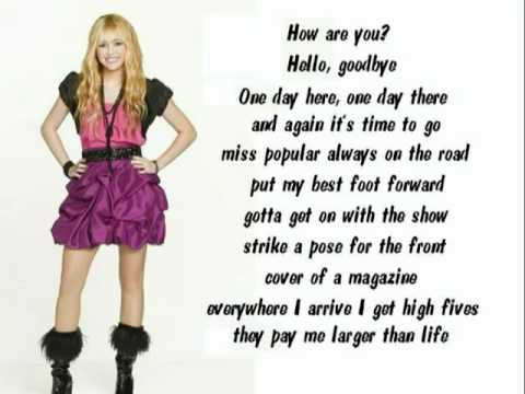 hannah montana song lyrics - YouTube