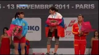 ЧМ 2011 по тяжелой атлетике, женщины, 63 кг(Майя Манеза берет 147 кг, но судьи не засчитывают попытку (смотрите на 3:15). А в общем вспомним, как прошли состя..., 2011-11-09T10:41:25.000Z)