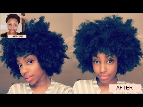 QUICKEST KINKY CURLY AFRO TUTORIAL ON SHORT 4C HAIR | BIG HAIR NO CARE | SYNTHETIC CLIP-INS