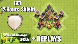 Clash of Clans - New SHIELD Base for Farming Get 12 Hours Shield and 30% Damage + Defense Replays