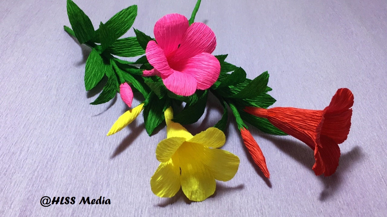 How To Make An Origami Allamanda Paper Flower Diy Crepe Paper