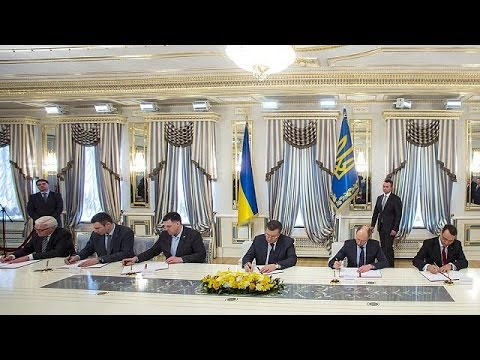 Янукович и оппозиционеры подписали соглашение об урегулировании кризиса на  Украине - YouTube