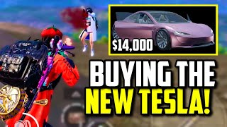 FEITZ SPENDS $14,000 ON NEW TESLA ROADSTAR & SQUAD WIPES ASIA SQUADS! | PUBG Mobile