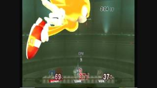 Brawl Hacks - Giant Growing Sonic/Super Sonic v.s. Link and Fox
