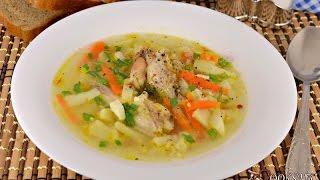 Суп с куриными крылышками, рисом и яйцом
