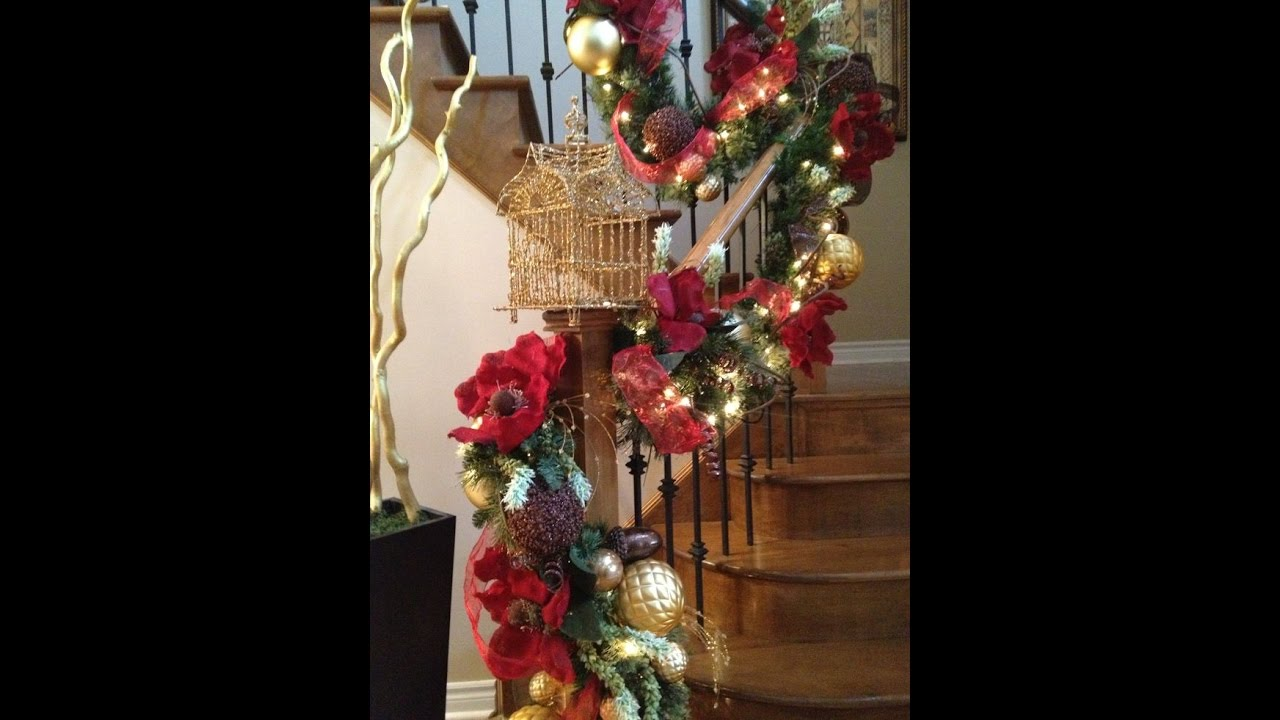 how to decorate a christmas staircase red and gold christmas decorations with vibrant creations