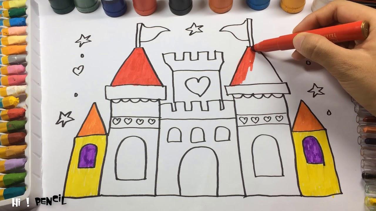 Cómo Dibujar Un Castillo De Princesa Cómo Dibujar Para Colorear Para Aprender A Colorear