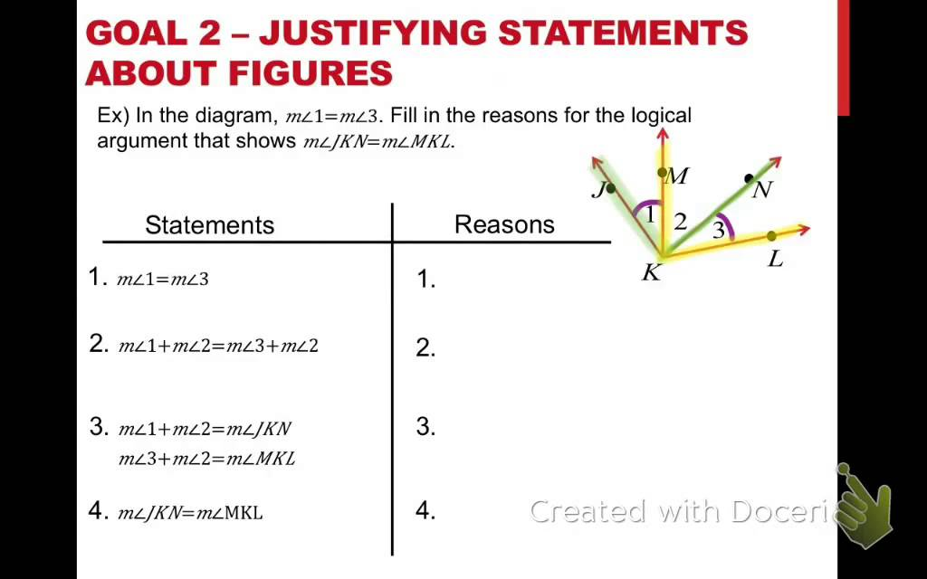 Geometry reasons and statements