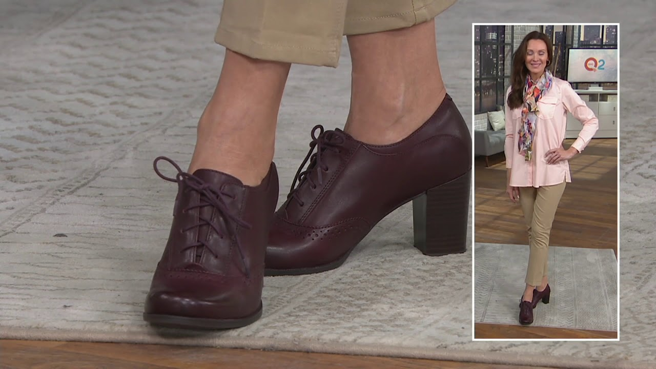 11c5a837 Clarks Leather Lace-up Shooties - Claeson Pearl on QVC
