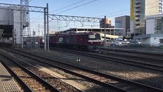 2018/05/27 JR盛岡駅在来線 EH500-1金太郎+コキ滑車 4083レ 八戸貨物ターミナル行 16時48分頃発車