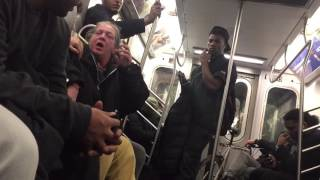 Drunk Grandma hitting, her grandson on the train 👉New York city subway , is so sad!!☹️