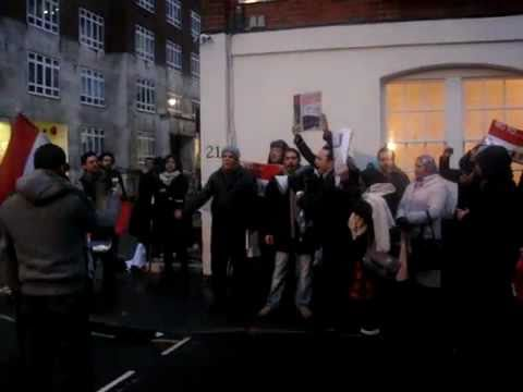 Video - Demonstration In Egyptian Embassy In London Exclusive Machahir123