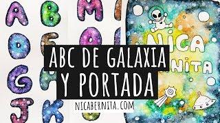LETRAS PARA TÍTULOS con dibujo de GALAXIA &  GALAXIA con rotuladores para DECORAR CUADERNOS