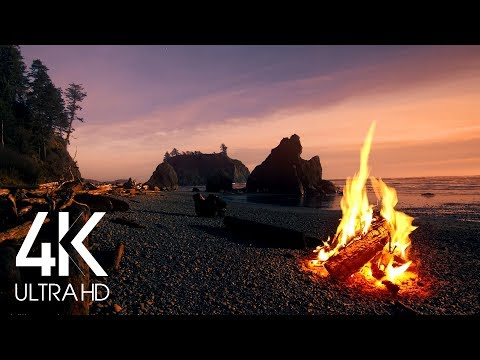 (8 Hours) 4K Campfire On Beach - Crackling Fire with Ocean Waves Sounds - Nature Soundscapes