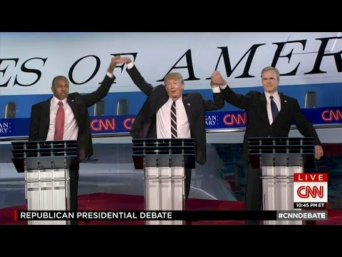 Donald Trump sharing a random, strange, and hilarious secret handshake during the Republican Debate. This man is the meme gift that keeps on giving.