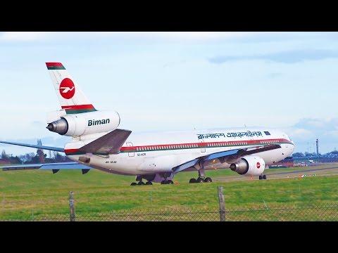 Biman Bangladesh McDonnell Douglas DC-10 Birmingham Take Off and Landing [+ ATC]