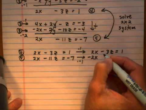 solve 3x3 system by elimination method