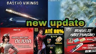 Free fire today update, free fire male update ,new events,80% of happy birthday olivila,