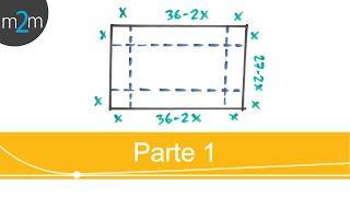 Optimización │ volumen de una caja sin tapa │ parte 1
