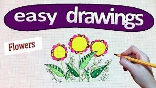 easy drawings happy flowers draw beginners
