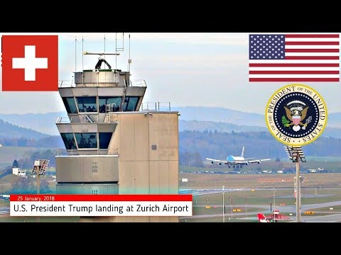 Air Force One POTUS Trump Landing Zurich Switzerland WEF 25 January 2018 Marine One + ATC Radio