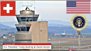 air Force One POTUS Trump Arrival Switzerland Airport ZH Kloten 21.01.2020