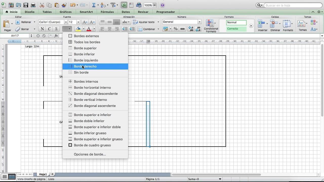 Dibujo de un plano en microsoft excel youtube for Como dibujar un plano de una casa