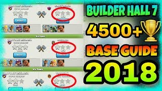 CLASH OF CLANS : builder hall 7 ( bh 7 ) base layout   trophy base 2018