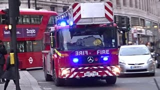 London Fire Brigade Turntable Ladder Responding w/ LOTS OF BULLHORN