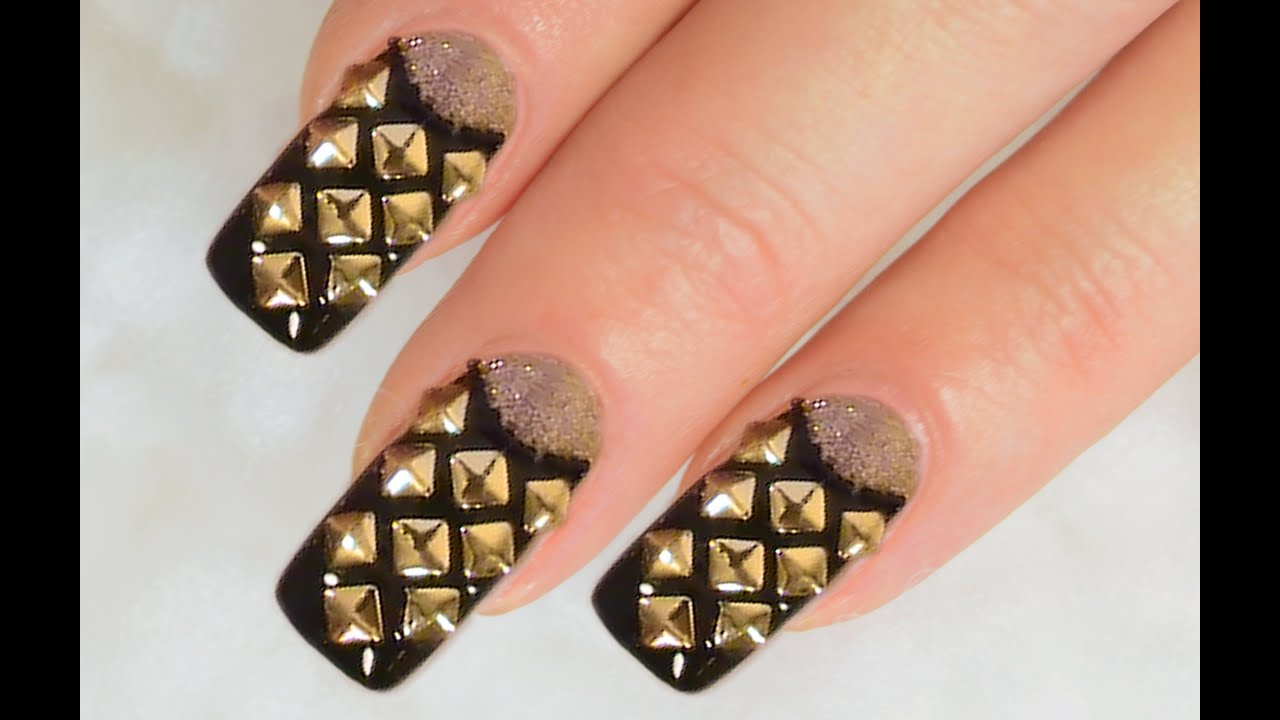 NailArt Design Tutorial - French reverse with rivets and beads in ...
