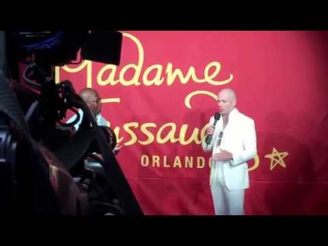 Pitbull happy with his new wax figure at Madame Tussauds Orlando