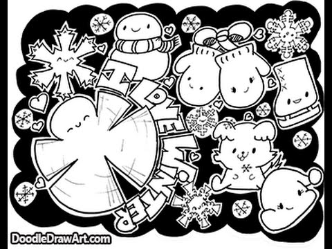 doodle coloring page kawaii winter doodles i love tutorials in description - Coloring Page Kawaii