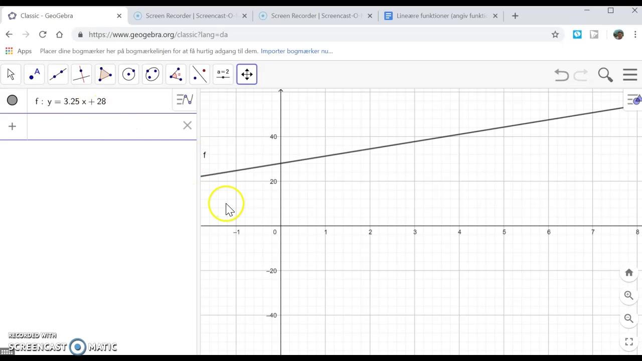 Lineære funktioner i Geogebra (angiv en funktionsforskrift)