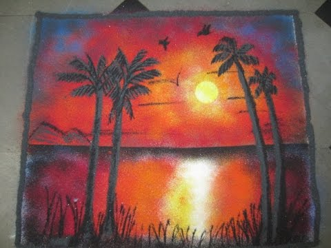 How To Make Sunrise Nature Rangoli Designs