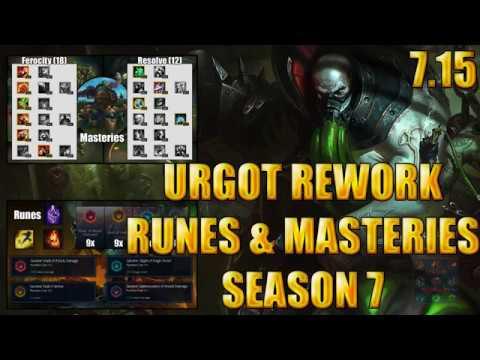 Urgot Rework Topmid Runes And Masteries 715 Season 7 League Of
