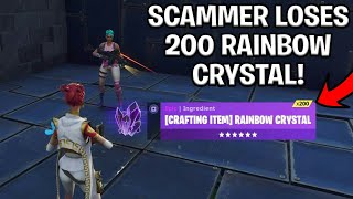 Scammer With 200 Rainbow Crystal Scams Himself! (Scammer Gets Scammed) Fortnite Save The World
