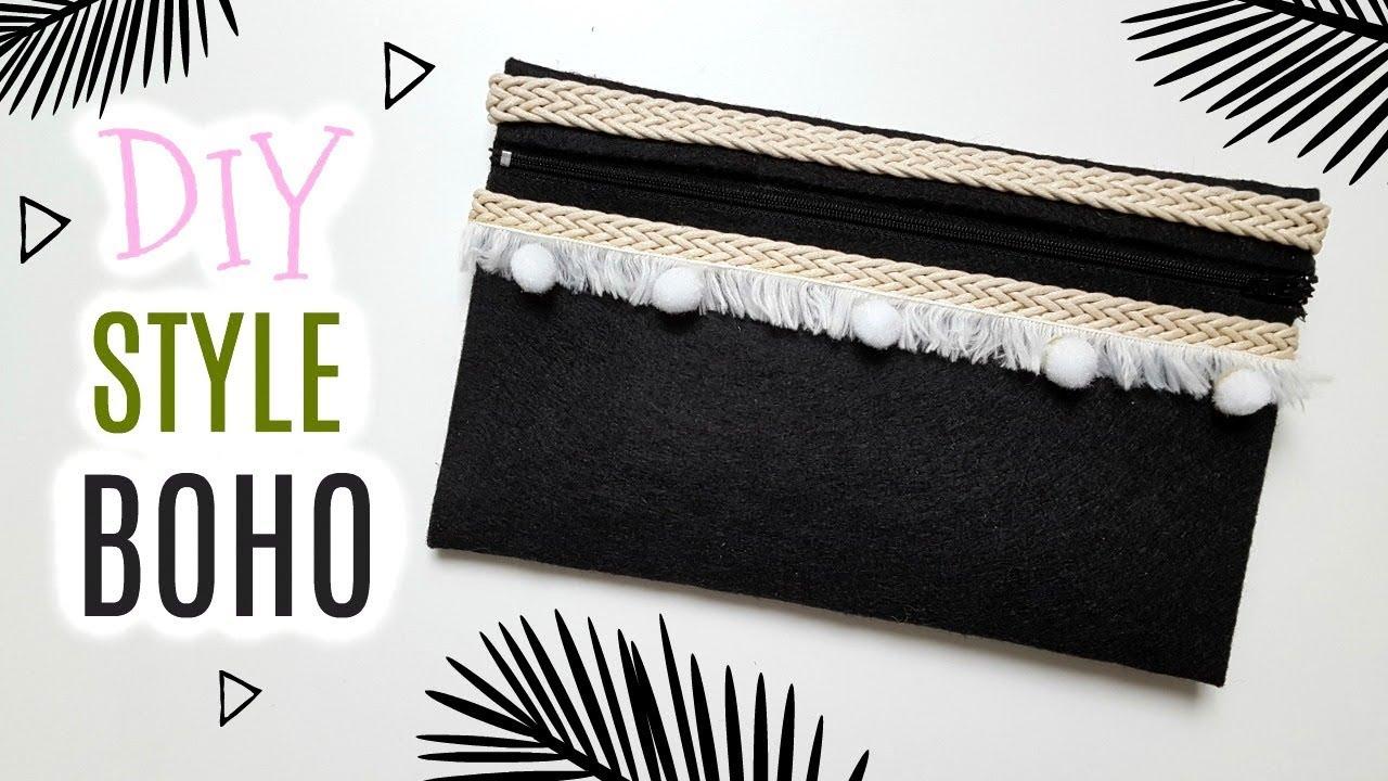 Diy Pochette Style Boho Sans Couture Youtube