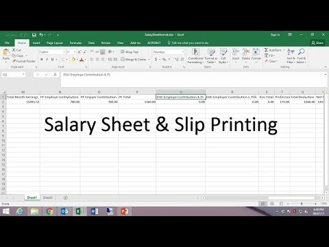 HOW TO CREATE PAYROLL/SALARY SHEET IN EXCEL AND PAYSLIP FROM WORD