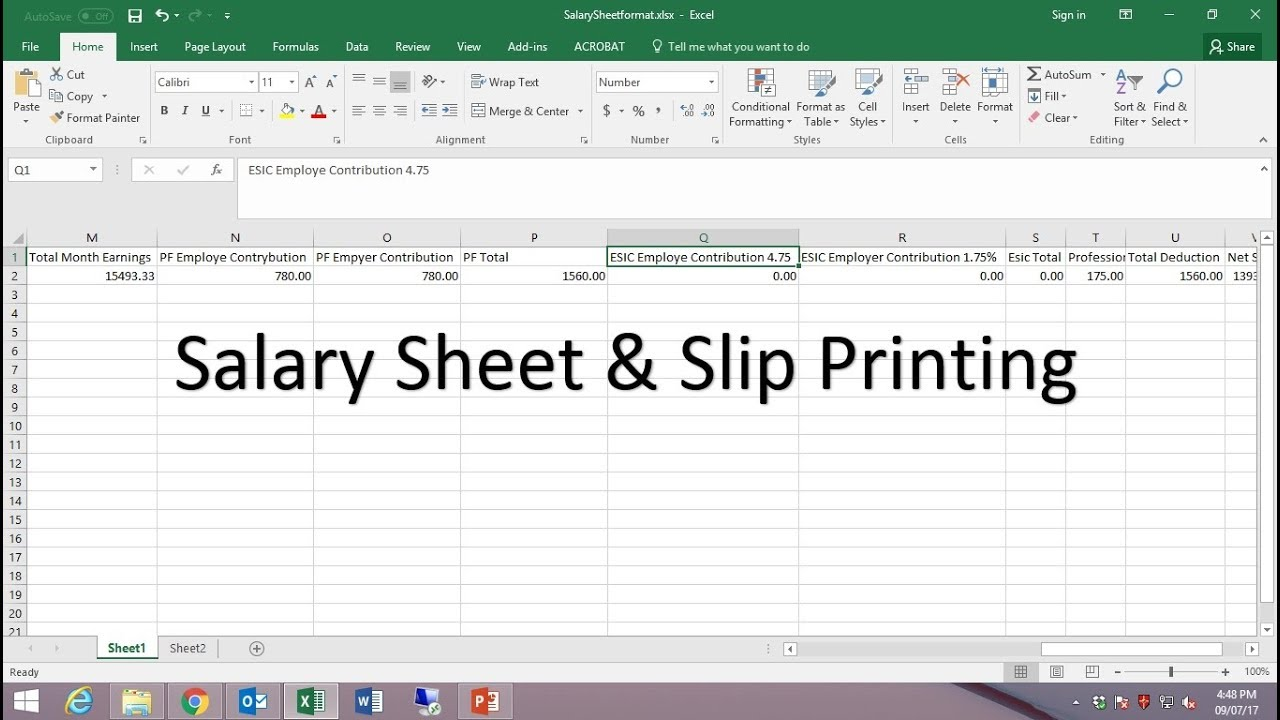 HOW TO CREATE PAYROLL/SALARY SHEET IN EXCEL AND PAYSLIP FROM WORD ...