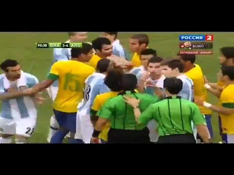 Argentina VS Brazil ● Fighting Match Ever In Football History ● (Fouls, Fights, And Cards)