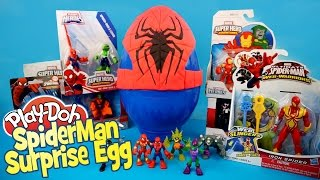 Giant Play Doh Spiderman Surprise Egg ft Spiderman Toys Opening - A Giant Surprise Egg by KidCity