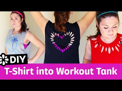 3 Easy DIY T-Shirt Cutting Ideas For Workout Tank Tops | Sea Lemon