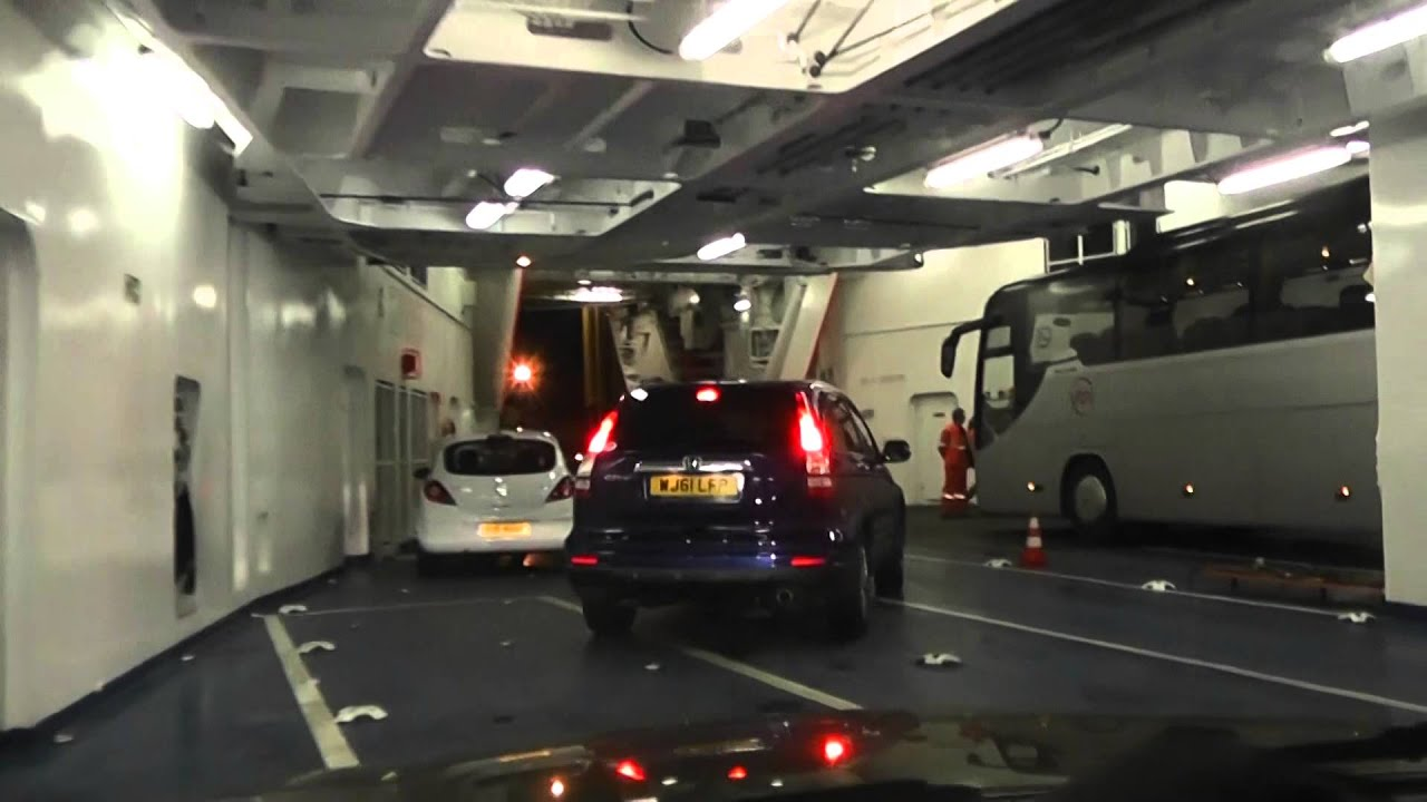 Driving Off Ferry Mv Pont Aven Brittany Ferries Roscoff Brittany
