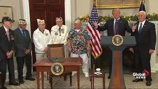 WWII vet interrupts Donald Trump to sing