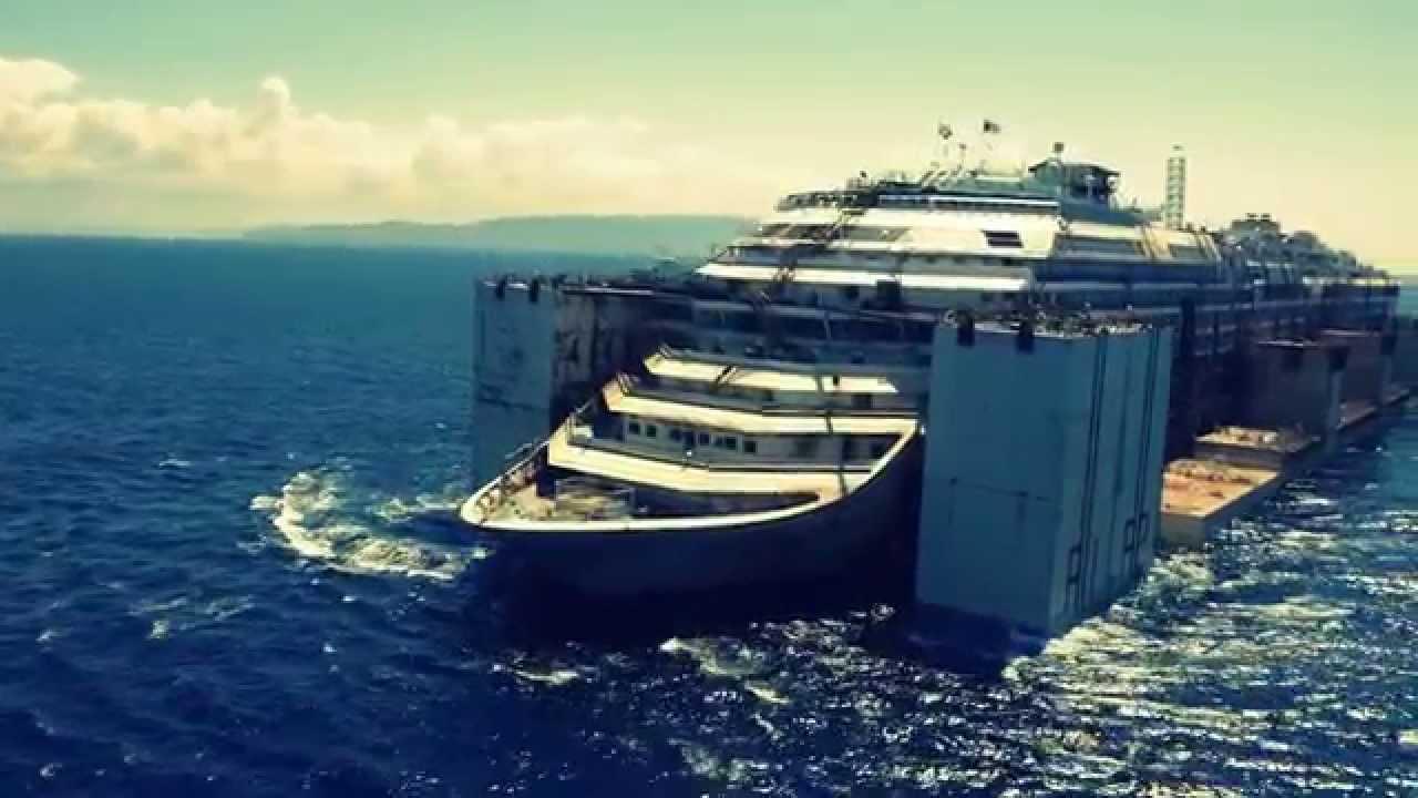 Aereal view of Costa Concordia removal in Isola del Giglio